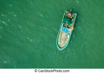 Fishing boat. - Fishing boat floats moored in sea water....