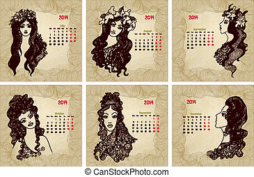 Vintage style 2014 year vector calendar Part 2 July, August,...