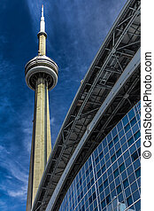 CN Tower in Toronto, Canada - The CN Tower on a blue sky...