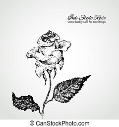 Dotted ink style rose. Vector background