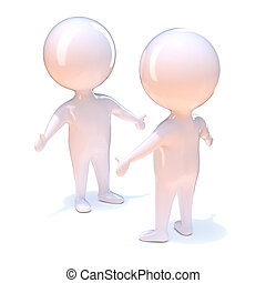 3d Two little people are reunited - 3d render of two little...