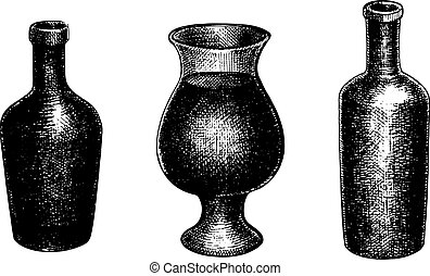 Set of hand drawn vector bottles and a pitcher