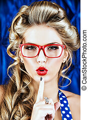 cosmetics lips - Portrait of a charming pin-up woman with...