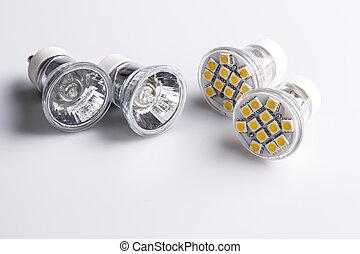 Modern LED bulbs with classic old bulbs - Modern LED bulbs -...