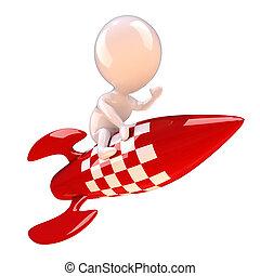 3d Rocket man - 3d render of a little man riding a red...