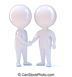 3d People shake hands - 3d render of two little people...
