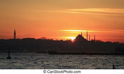 time lapse sunset Istanbul city
