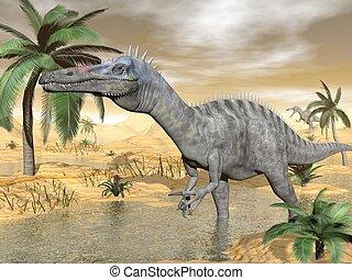 Suchomimus dinosaurs in desert - 3D render - Suchomimus...