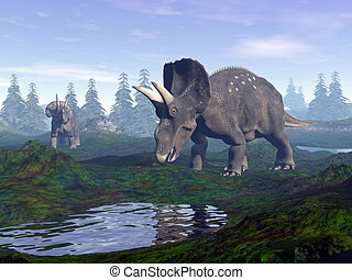 Diceratops dinosaurs in mountain - 3D render - Two...