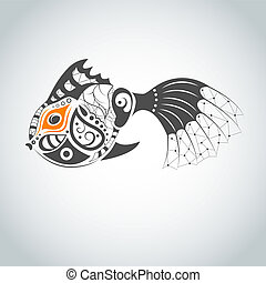 Vector Fish - Vector picture with bizarre fish