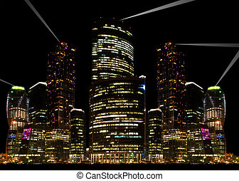 Night city view. - Night city view by the Moscow-river....