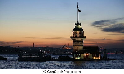 famous place ancient Maidens Tower at Istanbul Turkey blue...