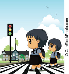 Crosswalk - School children across crosswalk with a backdrop...