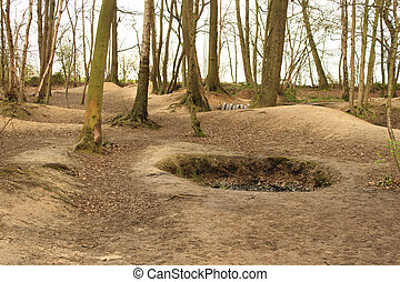 crater on the battlefield world war 1 flanders fields