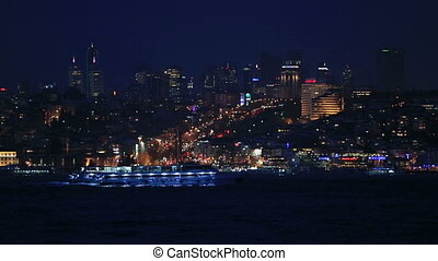 famous city Istanbul skyline at blu - blue hours time famous...