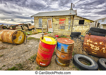 Cisco, Utah - Abandoned ghost town featuring junk piles and...