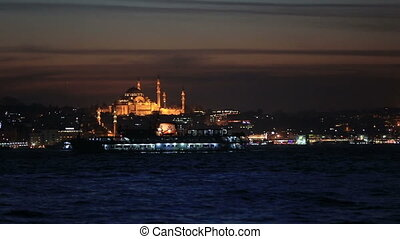 famous city Istanbul skyline at blu - blue hours time mosque...