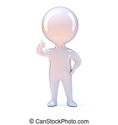 3d Thumbs up - 3d render of a little person giving the...