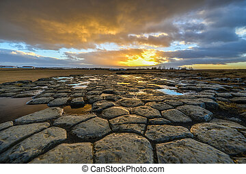 Kirkjugolf (Church Floor) at Sunrise, Iceland - Kirkjugolf...