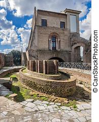 Ninfeo elíptico. Domus Flavia at Palatin in Rome, Italy