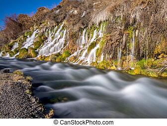 Thousand springs Idaho mini waterfalls - Many small...