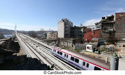 metro train bridge and station 12 - metro train passing and...