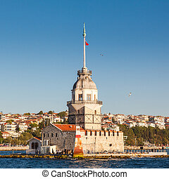 The Maidens Tower in istanbul, Turkey on background blue sky...