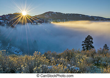 Fog coveres Boise Idaho during an inversion - Fog inversion...