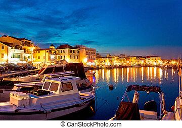 Town of Vodice evening harbor view, Dalmatia, Croatia