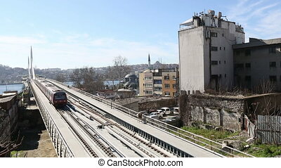 metro train bridge and station 14 - metro train passing and...