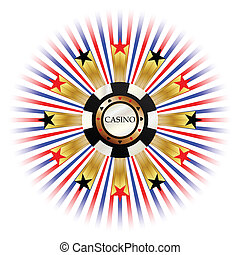 casino star - illustration of casino chips with red and...