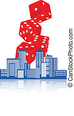 city casino - illustration of city with red dice casino