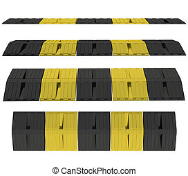 Plastic speed bumps Isolated render on a white background