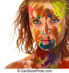 portrait of girl soiled in paint - portrait of the beautiful...