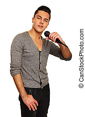 Karaoke with young man on isolated white background