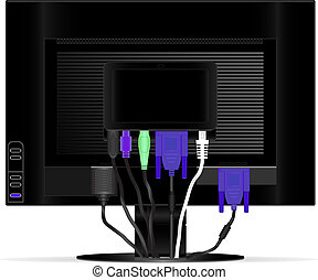 Rear view monitor vector image with connected wires
