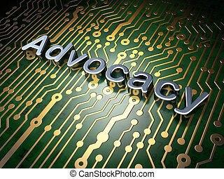 Law concept: Advocacy on circuit board background - Law...