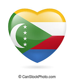 Heart icon of Comoros - I love Comoros Heart with flag...
