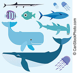 Sea vector set - Vector set which represent various sea...