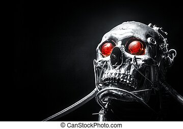 Skull of a human size robot isolated on black