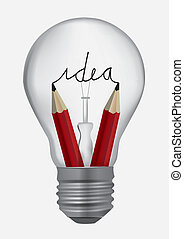 Light bulb with pencils symbolizing creativityVector...