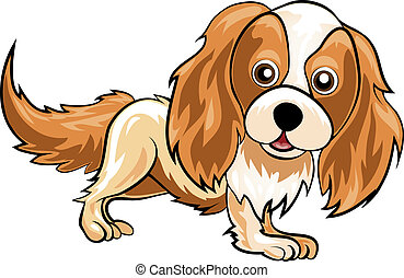 Spaniel - Funny illustration with spaniel drawn in cartoon...