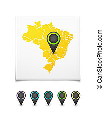 Map with a marker on Brazil, vector background illustration
