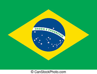 Flat green soccer field, brazil flag - Flat design green...
