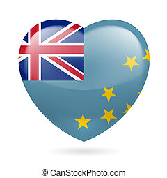 Heart icon of Tuvalu - I love Tuvalu. Heart with flag design...