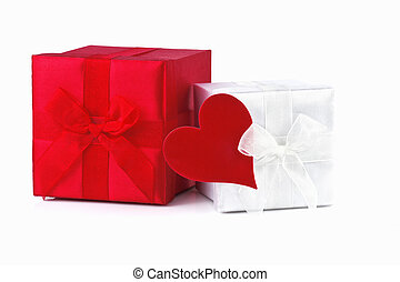 gift box with red heart isolated on white background