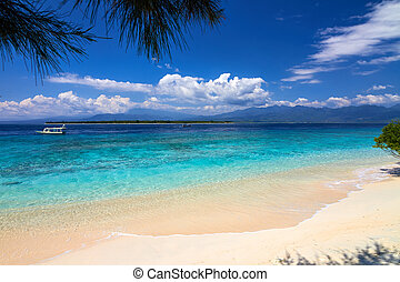 Tropical white sand beach - tropical sea and sky with...