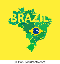 Flat simple Brazil map, vector background illustration