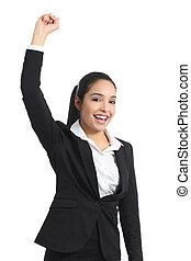 Arab business woman euphoric raising arm isolated on a white...