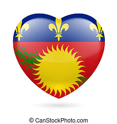Heart icon of Guadeloupe - I love Guadeloupe. Heart with...